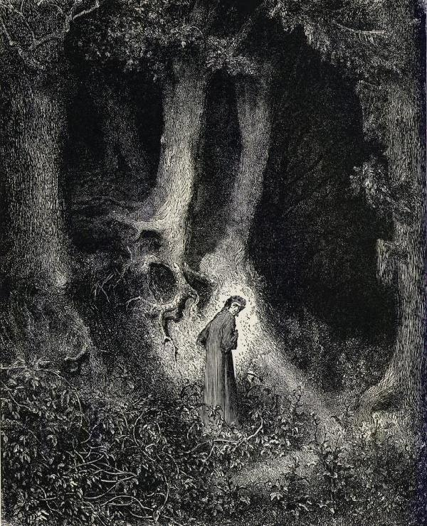 nb_pinacoteca_dore_divine_comedy_inferno_01a_dante_astray_in_the_dark_wood